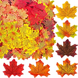 TURNMEON 600 Pcs Fall Leaves Decorations 6 Assorted Mixed Colored Faux Fake Artificial Autumn Maple Leaves for Fall Thanksgiving Harvest Decoration Home Indoor Outdoor Party Table Decor Wedding Events