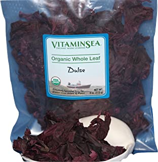 VITAMINSEA Organic Dulse Whole Leaf - 4 oz Maine Coast Seaweed - USDA & Vegan Certified