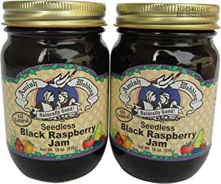 Amish Wedding All Natural Seedless Black Raspberry Jam 18 Ounces (Pack of 2)
