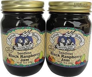 Amish Wedding Foods Seedless Black Raspberry Jam All Natural 2 - 18 oz. Jars