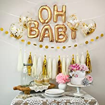 Baby Shower Decorations Gold & White OH Baby Foil Balloons, Confetti Balloons, Dot Garland & Tissue Tassel Garland [Gender Reveal, Baby Announcement, Maternity Pics, Birthday Party]