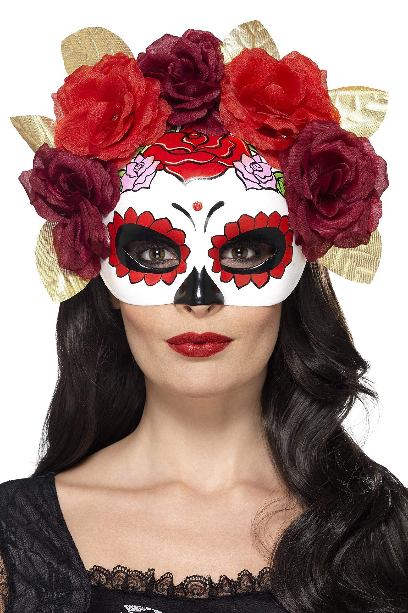 Smiffys-44883 Semimáscara de Rosas del día de Muertos, Color Rojo ...