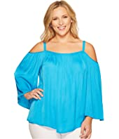 Vince Camuto Specialty Size - Plus Size Long Sleeve Cold Shoulder Rumple Blouse