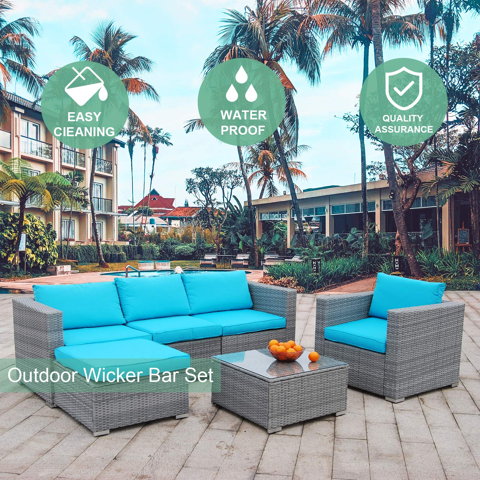 Polar Aurora 6pcs Patio Furniture Set PE Gray Rattan Wicker Sectional Outdoor Sofa Set Outside Couch w/Blue Washable Seat Cushions & Modern Glass Coffee Table