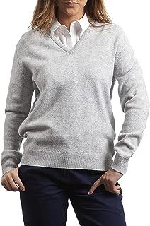 Great & British Knitwear Ladies HL100 100% Lambswool Plain V Neck Sweater. Made in Scotland-Pearl Grey-Medium