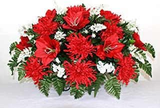 XL Artificial Red Lilies w Spider Mums Cemetery Flower Headstone Saddle Grave Decoration