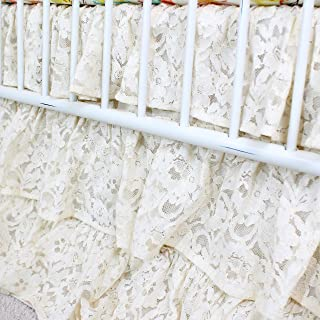Vintage Lace 3 Tier Ruffled Waterfall Crib Skirt (Natural/Ivory/ Off white)