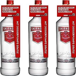 Smirnoff Red No. 21 Premium Vodka Triple Destilled, 3er, Wodka, Alkohol, Alkoholgetränk, Flasche mit Pumpe, 40%, 3 L, 715111