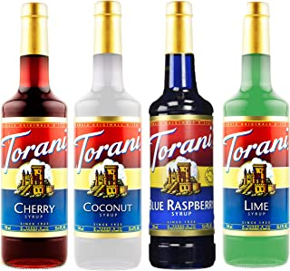 Torani Assorted Summer Flavors, (4 pack) Blue Raspberry, Coconut, Lime and Cherry 25.4 Ounces Each, for Smo...