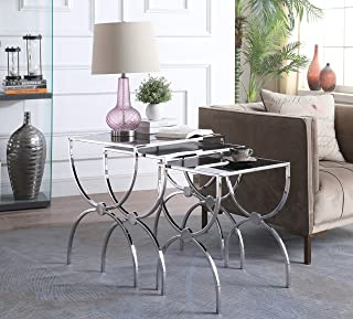Iconic Home Paulinka Nightstand Side Table 3 Piece Set Chrome Finished Hourglass Frame Black Glass Top, Modern Contemporary, Chrome