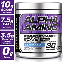 Cellucor Alpha Amino EAA & BCAA Recovery Powder, Essential & Branched Chain Amino Acids Supplement, ICY Blue Razz, 30 Servings