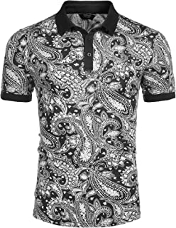 COOFANDY Men's Short Sleeve Polo Shirt Paisley Floral Printed Casual Polo T Shirt