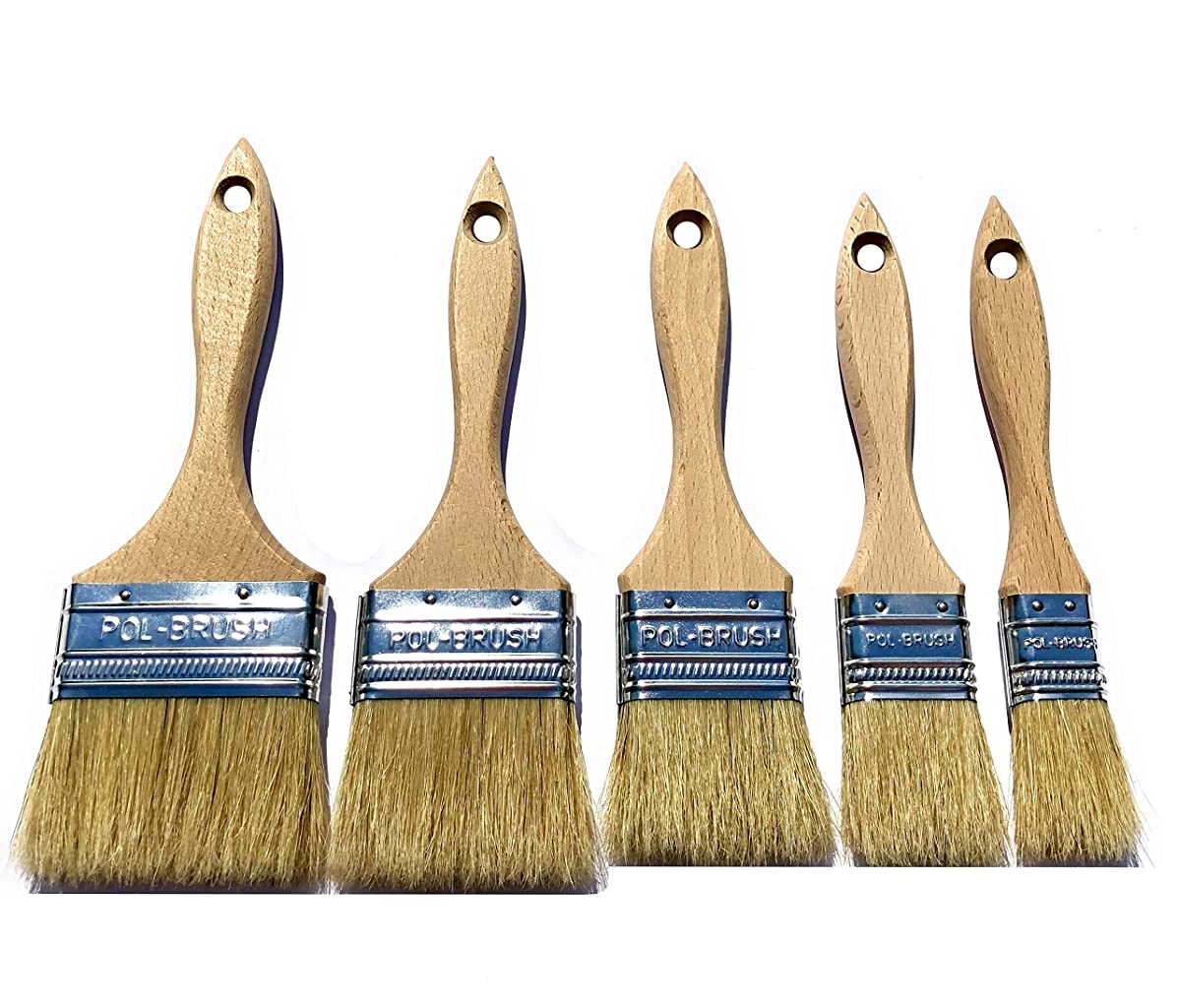 5 Pack - European Paint Brushes - Natural Bristle/Wood Handle - for Professional & Amateur Paint Job; for All Latex & Oil Base Paints, Stains, Varnish, Shellac, Polyurethane & Wax. (5Pack 5 Sizes)
