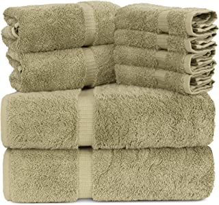 Towel Bazaar Luxury Hotel and Spa Quality Dobby Border 100% Turkish Cotton Eco-Friendly and Highly Absorbent Towel Set (Set of 8, Driftwood)