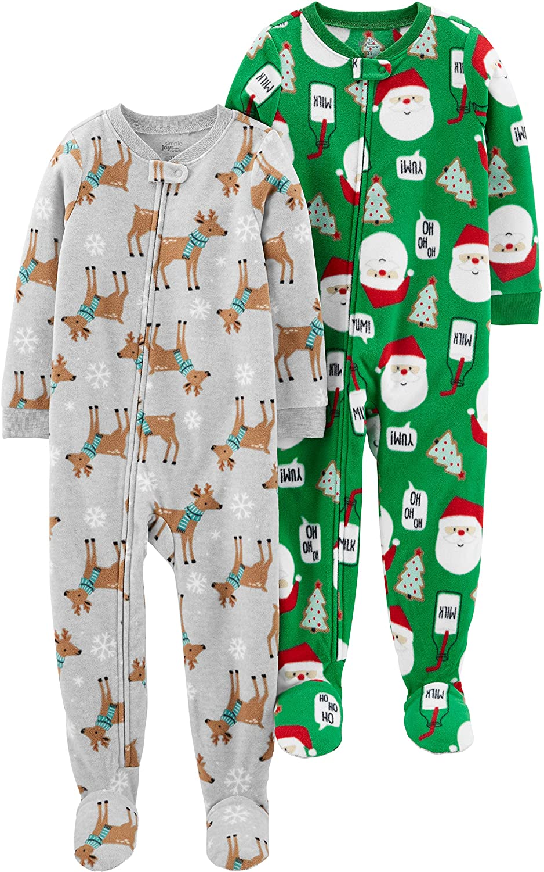 Lot de 2 Simple Joys by Carters 2-Pack Holiday Loose Fit Flame Resistant Fleece Footed Pajamas Mixte b/éb/é