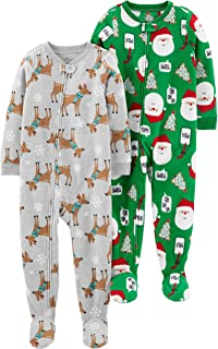 Baby and Toddler 2-Pack Holiday Loose Fit Fleece Footed...