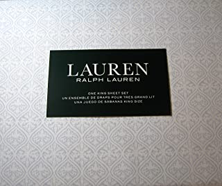 Lauren 4 Piece King Size Medallion Print Sheet Set Light Blue and White 100% Cotton