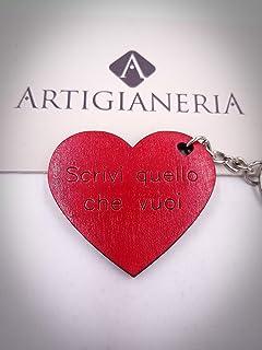 ArtigianeriA - Portachiavi in legno a forma di cuore personalizzato con NOME, DATA o TESTO A SCELTA. Idea regalo per ogni ...