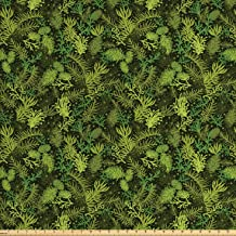 Ambesonne Sage Fabric by The Yard, Evergreen Christmas Tree Coniferous Fir Pine Leaves Retro Seasonal Forest, Decorative Fabric for Upholstery and Home Accents, 3 Yards, Olive Green