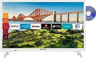TELEFUNKEN XH24J501VD-W 24 inch televisie (Smart TV incl. Prime Video/Netflix/YouTube, HD ready, DVD-speler, 12 Volt, Work...