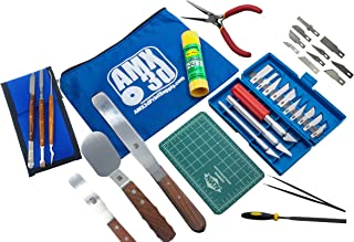 AMX3d Pro Grade 3D Printer Tool Kit - All The 3D Printing Tools & Accessories Needed to Remove, Clean & Finish 3D Prints – Toolkit Includes Spatulas, Pliers, Tweezers, Scrapers & More