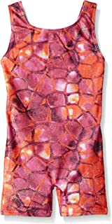 Danskin Little Girls' Gymnastics Unitard, Pink Snake, Small (4/6)