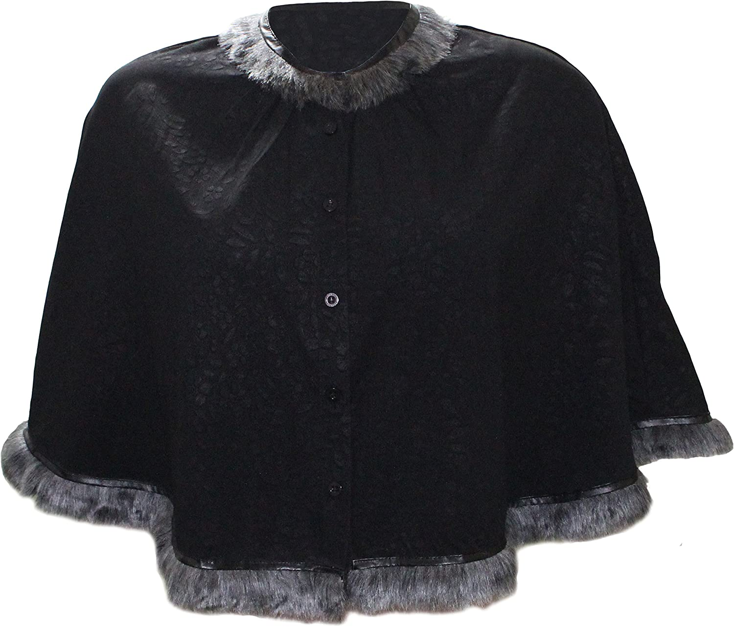 Attuendo Women's Short Cape with Faux Fur Details