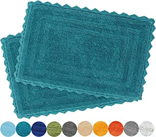Urban Style Decor Bath Rugs Set of 2 100% Soft Reversible Crochet Border Cotton Bathmat Hand Tufted Non Slip 2200 GSM Quality (Rectangle 17 x 24/17 x 24 Set, Teal)