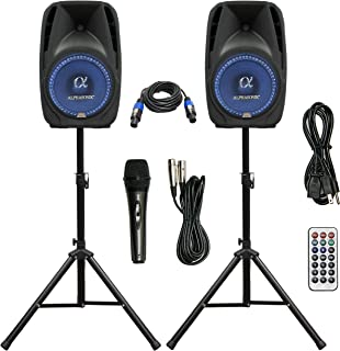 "Pair Alphasonik All-in-one 8"" Powered 800W PRO DJ Amplified Loud Speakers with.."