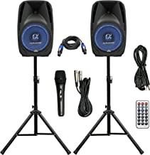 "Pair Alphasonik All-in-one 12"" Powered 1500W PRO DJ Amplified Loud Speakers with Bluetooth USB SD Card AUX MP3 FM Radio PA System LED Lights Karaoke Mic Guitar Amp 2 Tripod Stands Cable and Microphone"