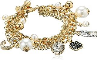 MISASHA Logo Gold Tone Chain Inspired Charm Bracelet for Women