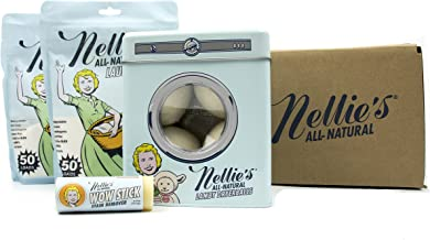 Nellie's Laundry Combo Pack- 2 Packs of 50 Load Powdered Laundry Detergent, Lamby Dry Balls, Wow Stick Stain Remover