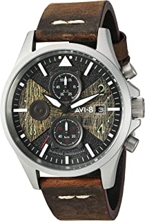 AVI-8 Men's AV-4068 Hawker Hurricane Bulman Edition, Quartz Stainless Steel and Leather Aviator Watch