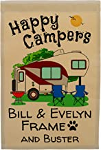 Happy Campers Personalized 5th Wheel Campsite Sign, Garden Flag, Customize Your Way, Flag Only (Maroon/Gray)
