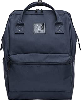 Kah&Kee Polyester Travel Backpack Functional Anti-theft School Laptop for Women Men (Navy, Large)