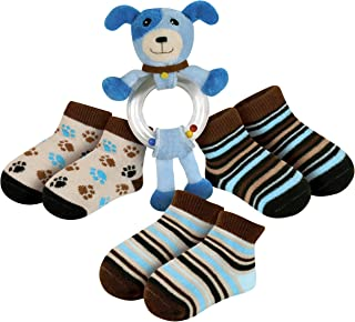 Stephan Baby Ring Rattle and Bootie Socks Gift Set, Blue Dog (Discontinued by Manufacturer)