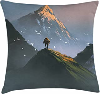 Lunarable Mountain Throw Pillow Cushion Cover, Trekker Man Standing at The Top of Mountain with Flying White Birds Painting Style, Decorative Square Accent Pillow Case, 20