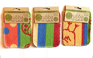 Wet-it Skrubba New European Scrubby Non-Scratching Scouring Pads (Set of 3, Stripe Chicken Paisley)
