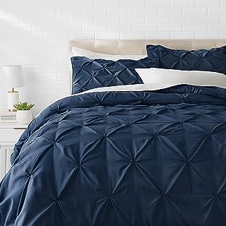 AmazonBasics Pinch Pleat Comforter Bedding Set, Full / Queen, Navy Blue