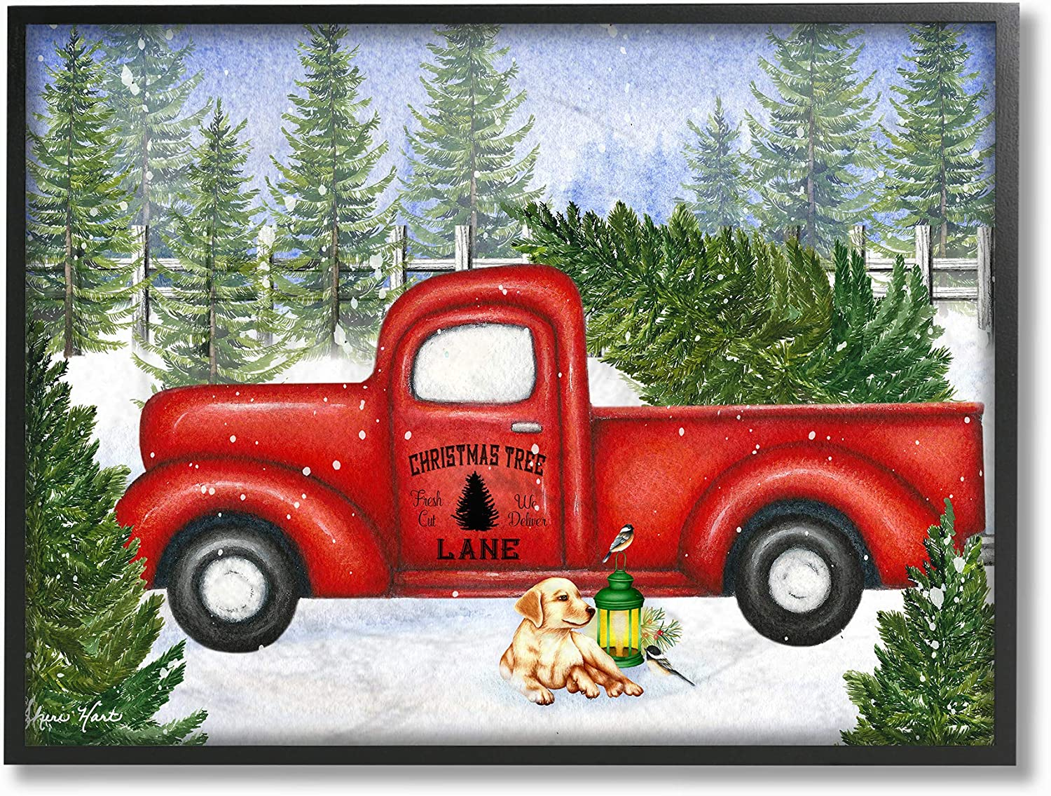 Stupell Industries Home Holiday Christmas Tree Lane Red Pickup Truck with Dog and Lantern Framed Giclee Texturized Art, Multi-color
