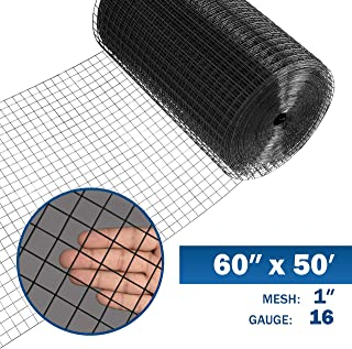 Fencer Wire 16 Gauge Black Vinyl Coated Welded Wire Mesh Size 1 inch by 1 inch (5 ft. x 50 ft.)