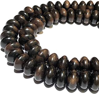 [ABCgems] Extremely-Rare Tiger Kamagong Tree AKA Ebony Hardwood (Prime Cut from Center of Wood- Very Durable) 12mm Smooth Rondelle Wood Beads (No Clasp)