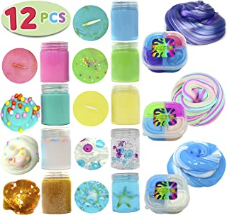12 PCs Ultimate Silly Fluffy Slime Putty Kit Supplies ALL IN ONE with Cloud, Unicorn, Galaxy, Mermaid Sea, Fruit, Clear, Foam, Rainbow, Glitter, Fishbowl Fun Glossy Smiles in Containers for Kids.