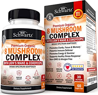 Premium Organic 8 Mushroom Complex Supplement with Lions Mane & Cordyceps- Nootropic for Focus, Clarity, and Stress Relief - Promotes Energy and Stamina - Supports Immune Response & Memory