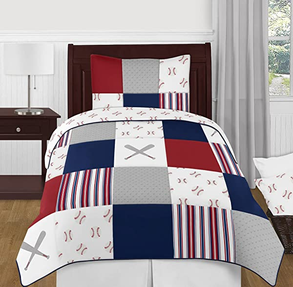 Sweet Jojo Designs Red White And Blue Baseball Patch Sports Boy Twin Kid Childrens Bedding Comforter Set 4 Pieces Grey Patchwork Stripe
