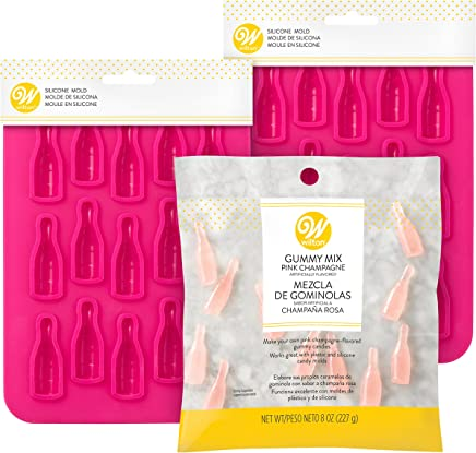 Wilton Pink Champagne Gummy Candy Mix and Mini Wine Bottle Molds Set, 3-Piece - Gummy Candy Mix and Molds Set