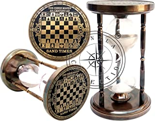"Hanzla Collection Antique Brass Sand Timer Nautical Maritime 6"" Chess Maker Old Clock Hourglass"
