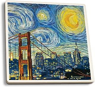 Lantern Press San Francisco, California - Skyline - Van Gogh Starry Night (Set of 4 Ceramic Coasters - Cork-Backed, Absorbent)