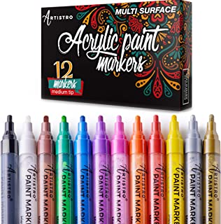 Paint Pens for Rock Painting, Ceramic, Porcelain, Glass, Wood, Fabric, Canvas. Set of 12..