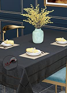 Violet Linen Hem Stitch Border Pattern Polyester, Non-Stain, Spill-Proof and Water Resistance, Rectangle, Tablecloth, Seat...